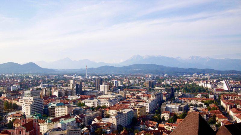 Panorama Ljubljany z wieży zamkowej